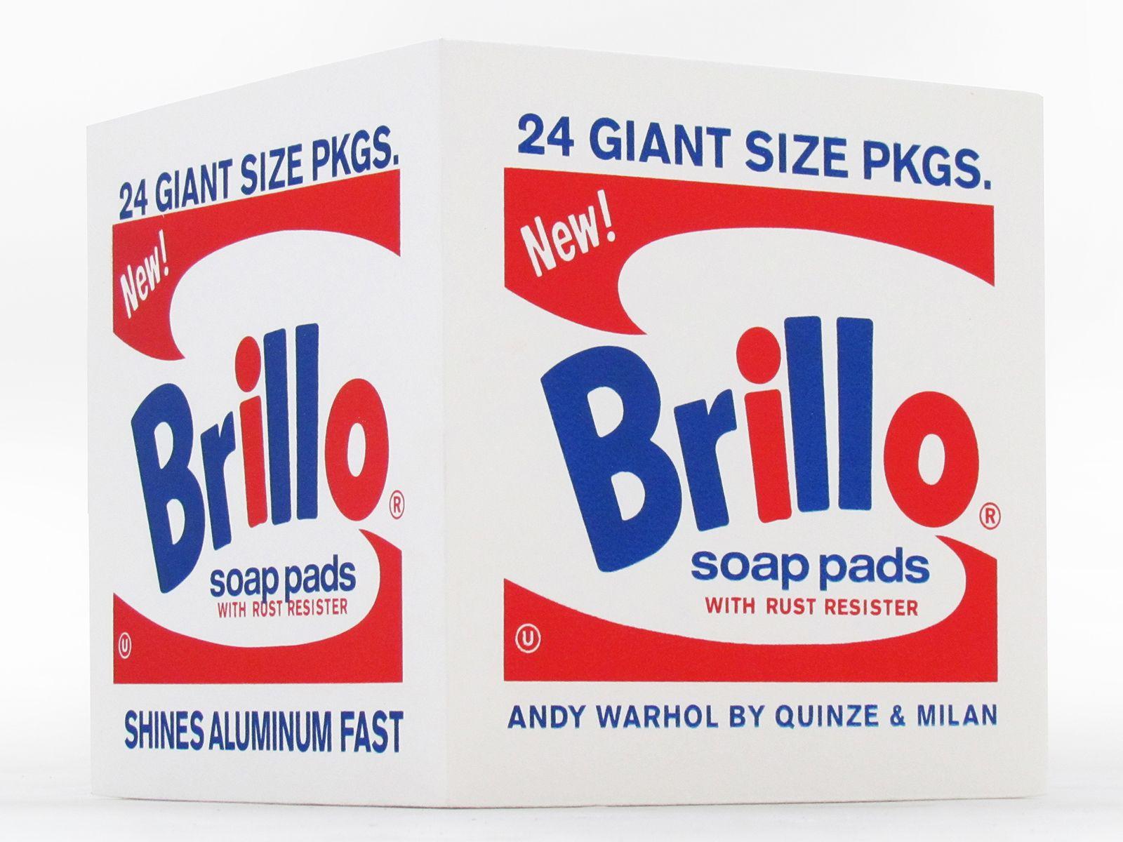 Andy Warhol Brillo Pouf Wharol Bleu Blanc Rouge Rouge