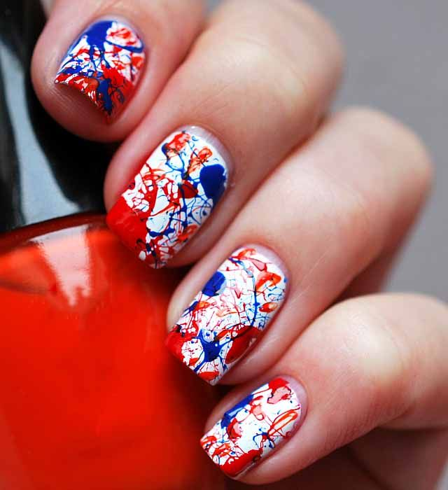 red white and blue nail design