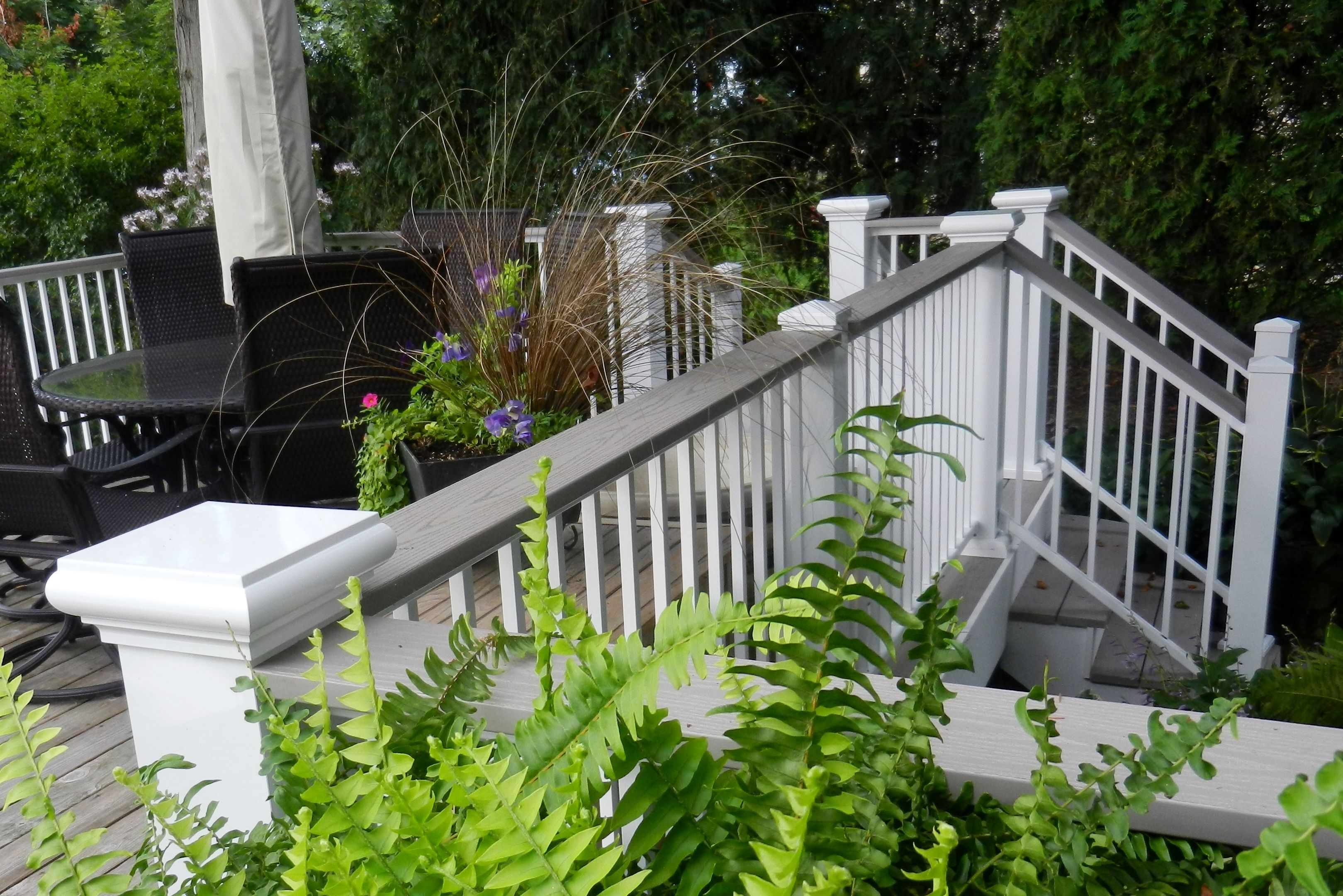 Afco series 200 aluminum rail in white with grey composite for Composite decking and railing
