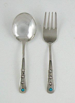 Native American Navajo Indian Sterling Silver Baby Spoon And Fork Set