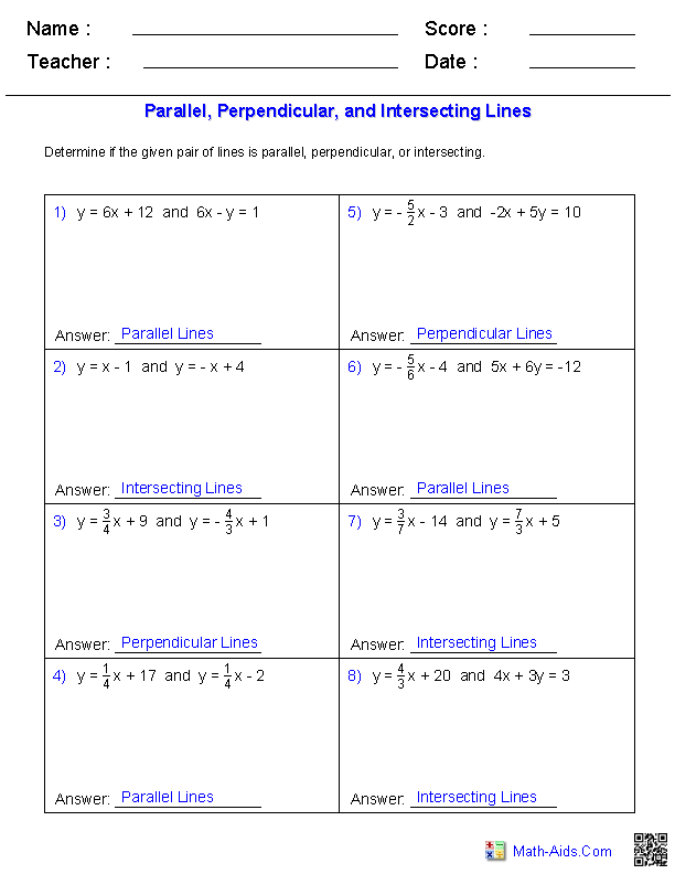 Slopes Of Parallel And Perpendicular Lines Worksheet Answers : slopes, parallel, perpendicular, lines, worksheet, answers, Geometry, Worksheets, Parallel, Perpendicular, Lines, Lines,, Worksheets,, Writing, Equations