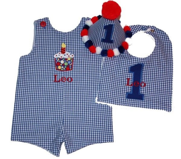 Boys BNB Reversible Birthday Cupcake Shortall - Royal Gingham Jon Jons