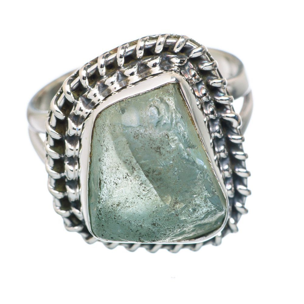 Rough Aquamarine 925 Sterling Silver Ring Size 6.75 RING729116