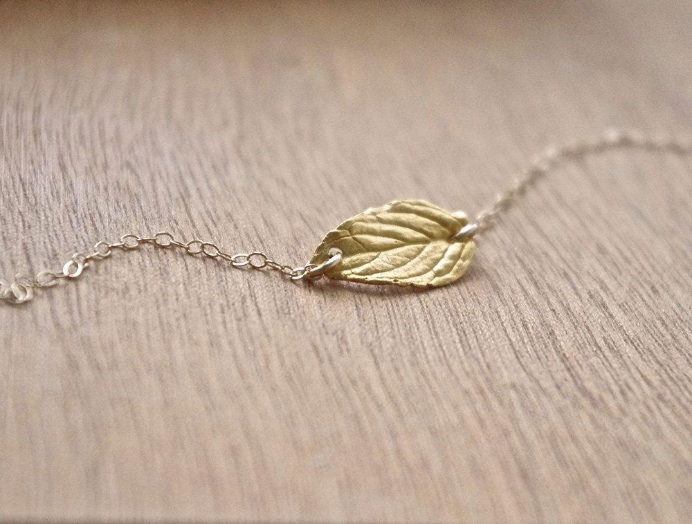 Gold Leaf Bracelet, Unique Leaf Bracelet, Gold Filled Bracelet, Gold Leaf Friendship Bracelet, Boho Jewelry, Nature inspired Minimal Jewelry