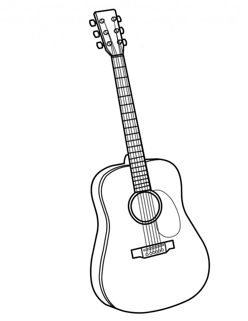 Guitar Coloring Pages Kindergarten Print For Acoustic Music Fans You Must Be Familiar With Stringed Or Stringed Strings On An Instrument Called A Guitar Desain
