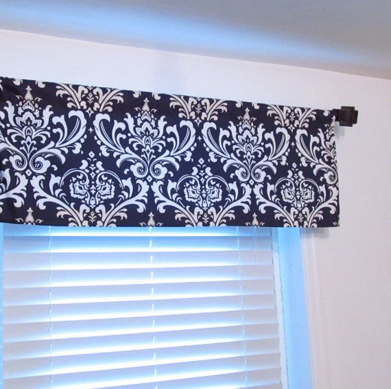 Straight Valance Navy Blue Damask Curtain Bedroom Living Room Kitchen Bathroom Custom Sizing Available Window Toppers Damask Curtains Curtains