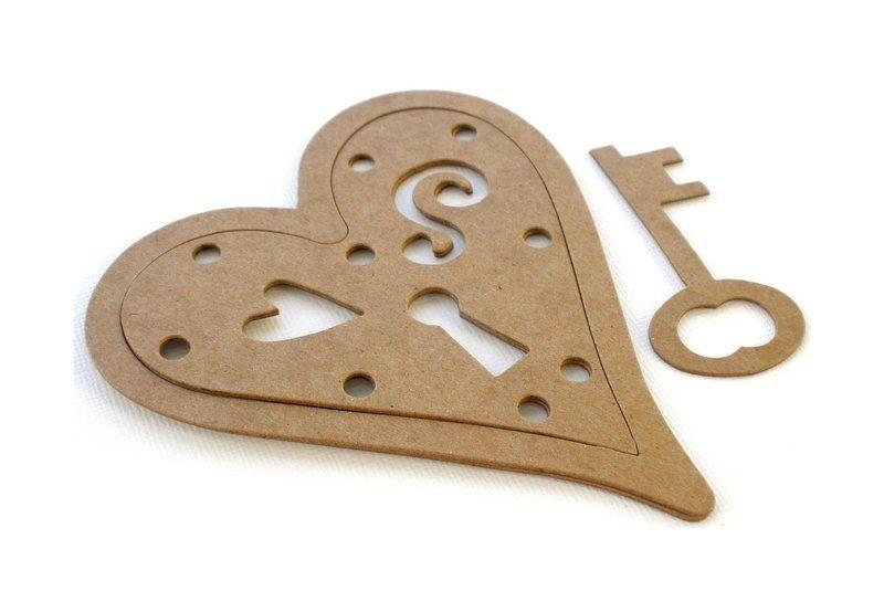 ♥ ♥ Herzschloß+Schlüssel aus Hartfaser ♥ ♥      Kann bemalt und/oder beklebt werden       Sie erhalten:    ♥ 1 Set wie abgebildet      ♥ Größe Herz ~