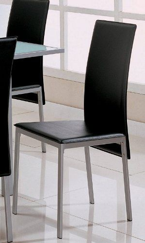silver metal dining chairs ergonomic chair in dubai set of 4 black bonded leather finish coaster http www furniturendecor com