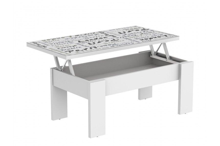 Mesa de centro modelo ARE fabricada con tapa de cristal con dibujo impreso y estructura de madera color blanco. #mueblekitespana #mesadecentroare