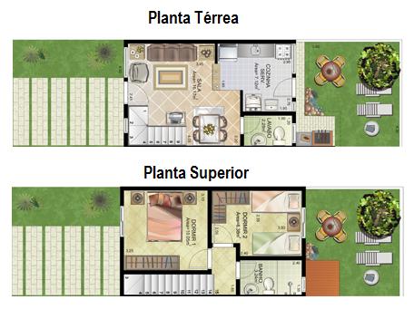 Plantas de sobrados pequenos com 2 quartos | casas ...