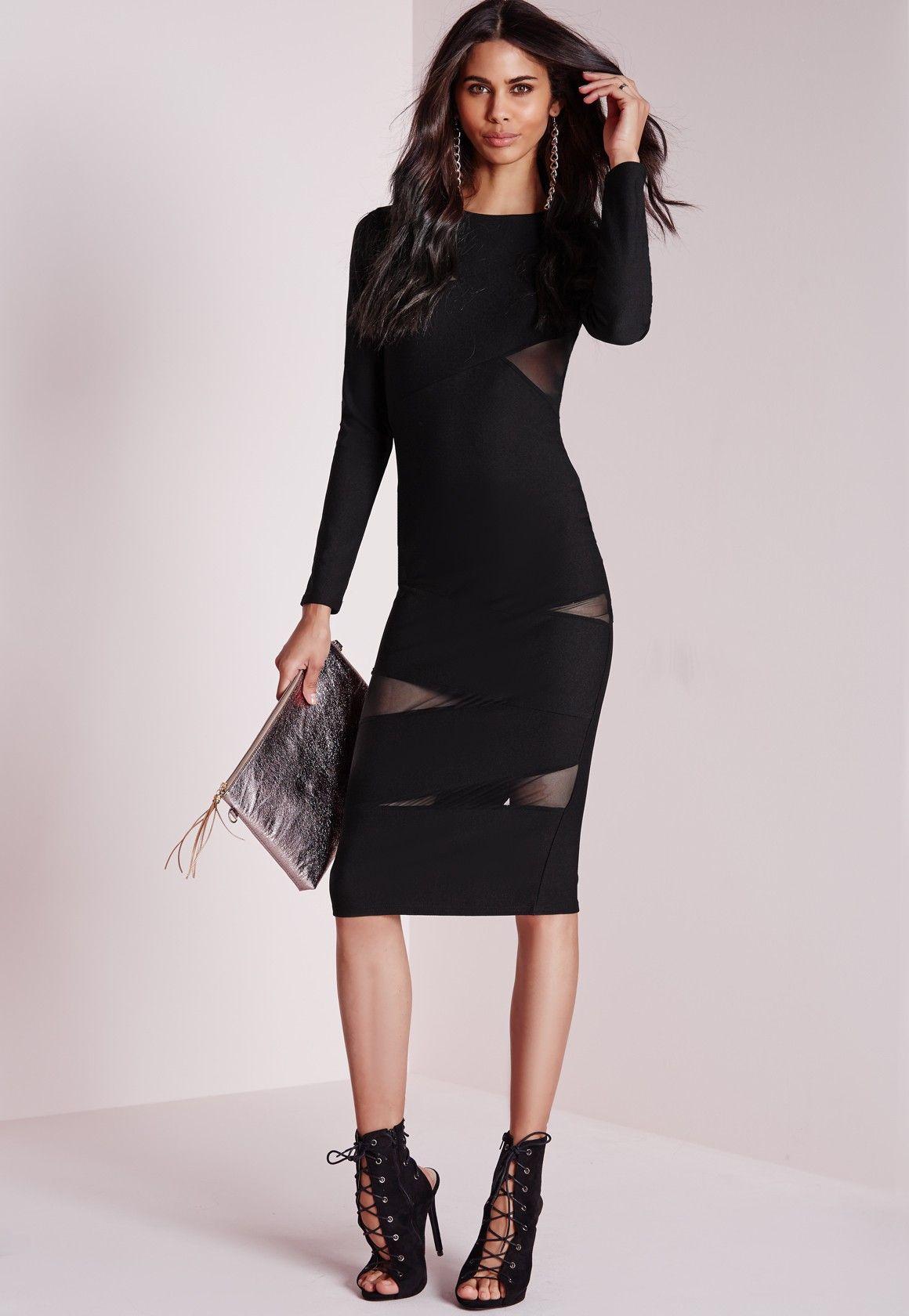 Missguided Mesh Sleeve Midi Dress Black Midi Dress With Sleeves Black Midi Dress Dresses [ 1680 x 1160 Pixel ]