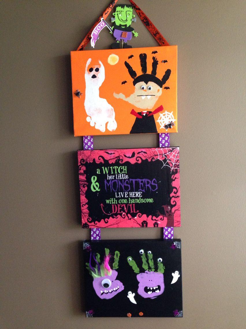 Handprint and foot print Halloween craft #halloweencraftsfortoddlers