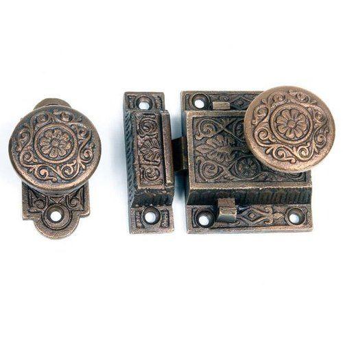 VICTORIAN SCREEN DOOR RIM LOCK SET - Restorers Victorian Screen Door Rim Lock Set Victorian, Screens