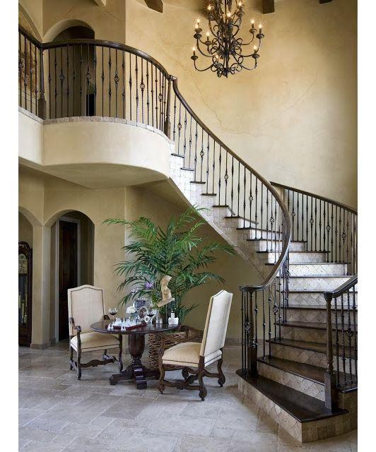 Beautiful Mediterranean Style Winding Staircase
