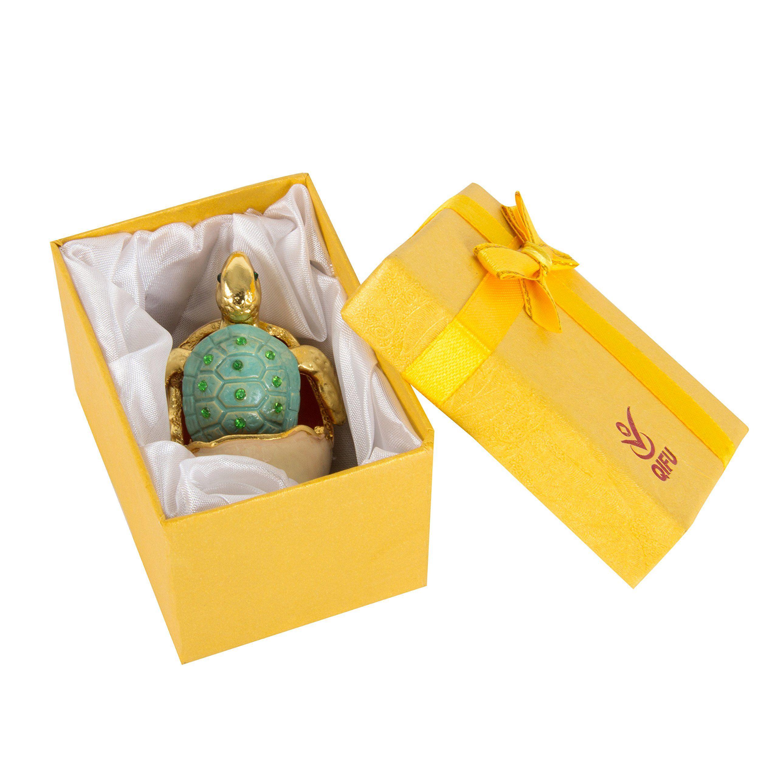 Qifuhand painted sea turtle tortoise decorative hinged