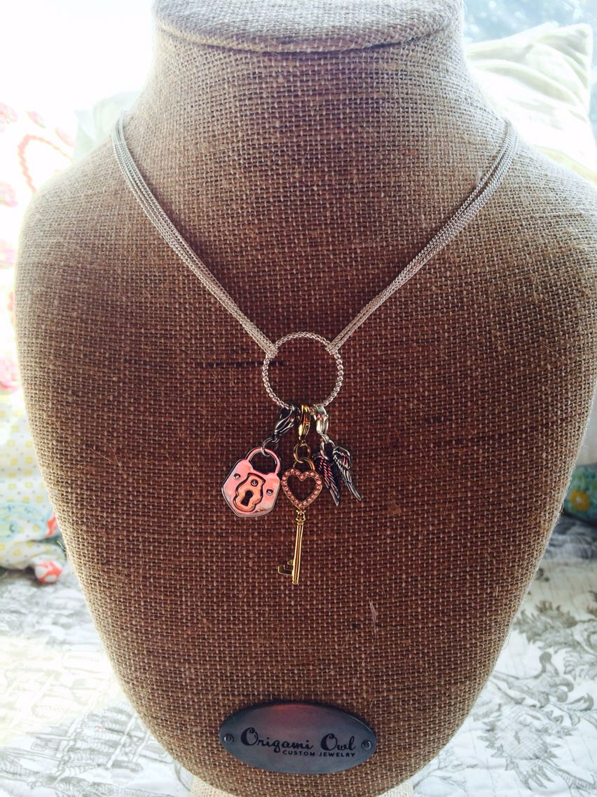 Dream Catcher Chain with gold key, silver and rose gold lock, and silver double angel wings!