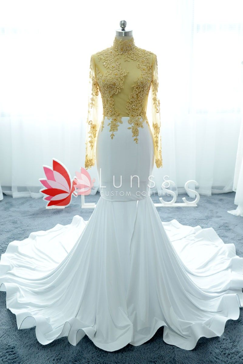 Sheer Two Tone High Neck Sleeved Mermaid Prom Dress Mermaid Prom Dresses Gold Prom Dresses Gorgeous Prom Dresses [ 1200 x 800 Pixel ]