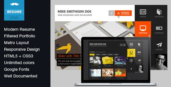 Flat Resume - Virtual Business Card HTML  Flat has features such - resume html template