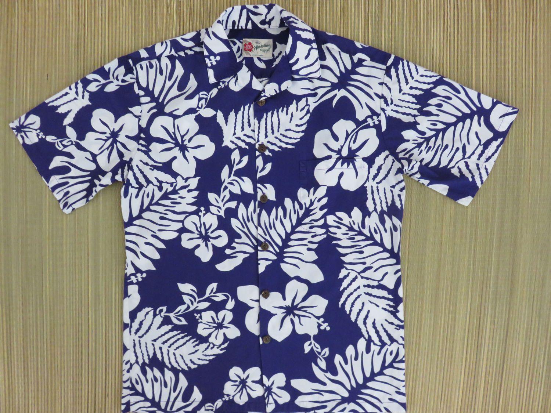 eaa43669 Hawaiian Shirt Mens HILO HATTIE Hibiscus Flower Power Surfer Mod Purple  Rockabilly Vintage Aloha Shirt Cotton - S - Oahu Lew's Shirt Shack by ...