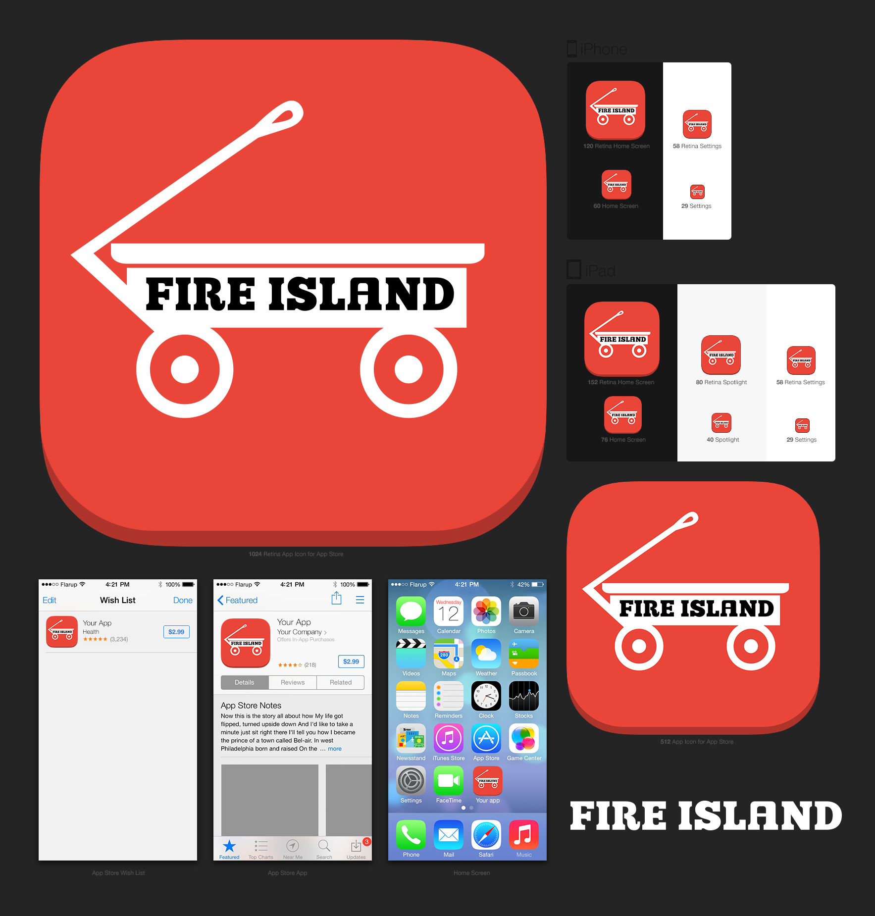 iOS Icon for travel tools for Fire Island, Long Island