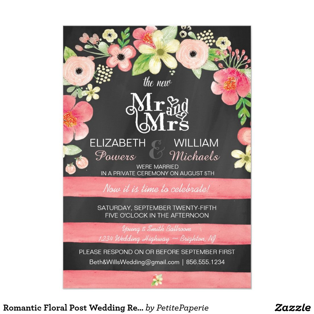 Romantic Floral Post Wedding Reception Only Invite | Reception ...