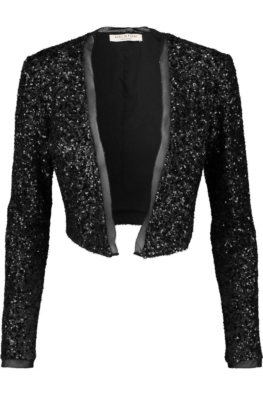 HALSTON HERITAGE Cropped Sequined Tulle Jacket. #halstonheritage #cloth #jacket