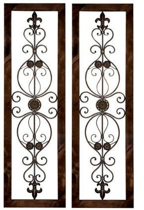 Metal Wall Plaque tuscan metal wall grille wall plaque set with fleur-de-lis