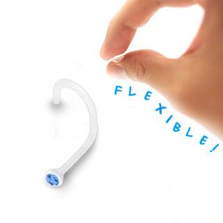 Clear BioFlex Nose Stud with Light Blue Gem - Pierce of Mind