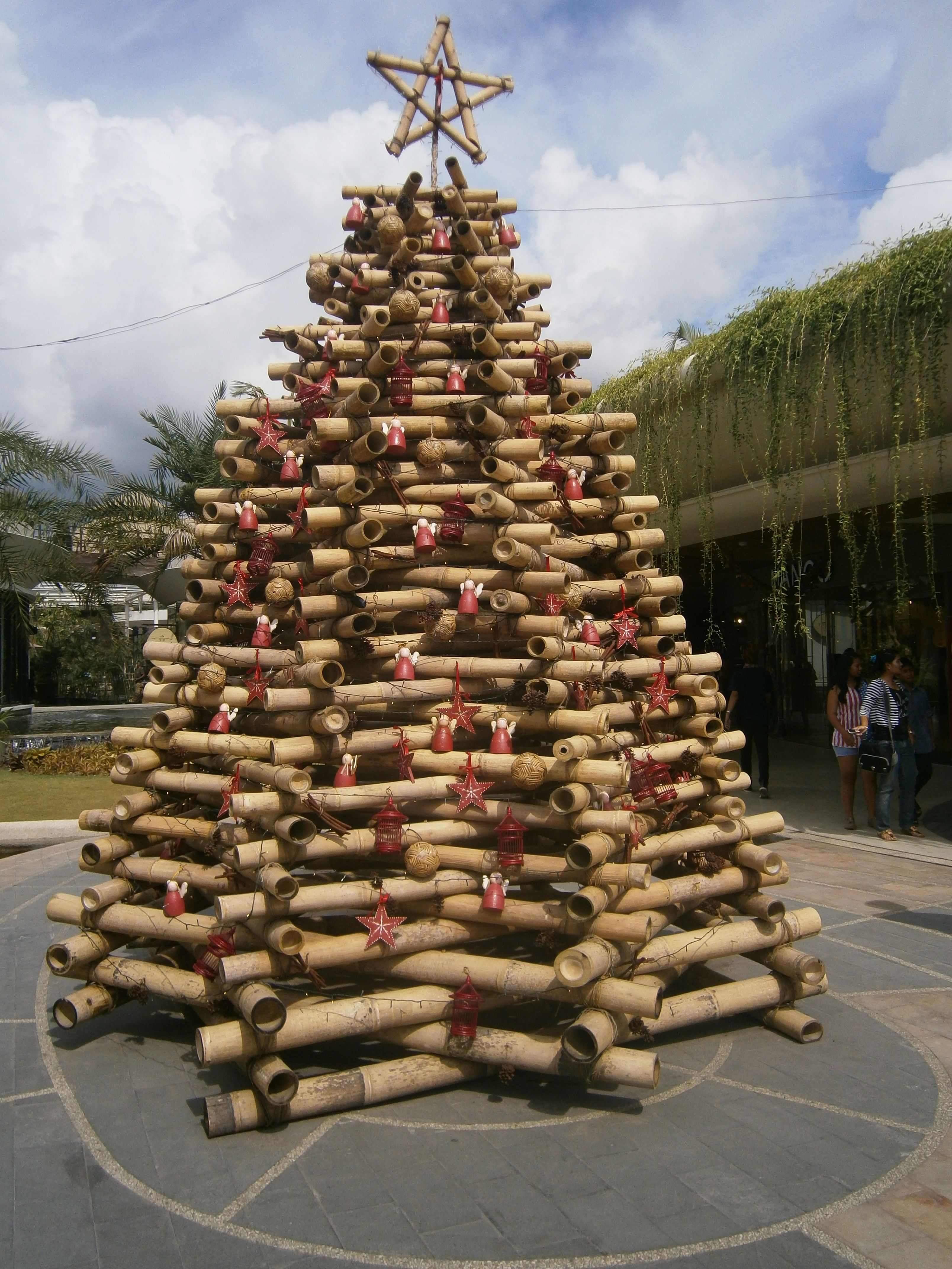 A Creative Use Of Large Diameter Bamboo To Build This Awesome Xmas Tree Alternative Christmas Tree Bamboo Decor Outdoor Christmas Decorations