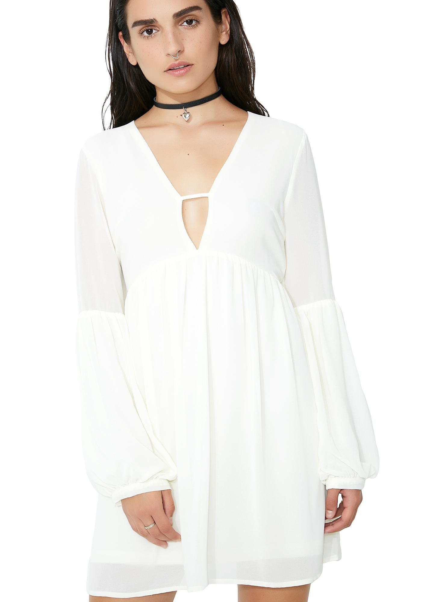 b0275bdda038 Glamorous Angel Face Flowy Dress cuz your beauty surpasses the rest. This white  flowy dress has a keyhole v neckline and loose sleeves.