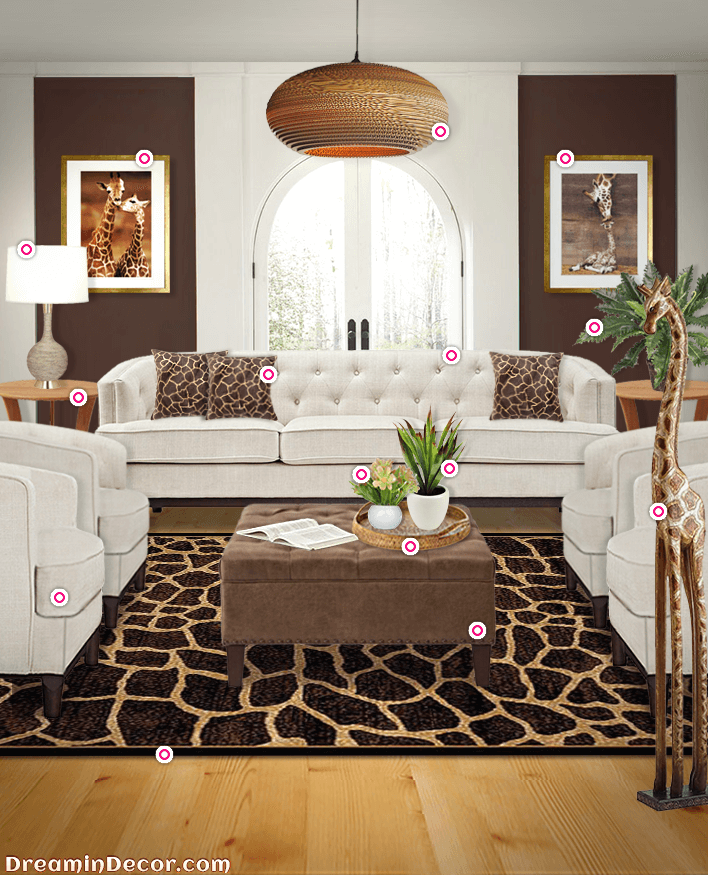 elevate your style with the exotic look of giraffe home decor rh pinterest com safari themed living room decor safari themed living room decor