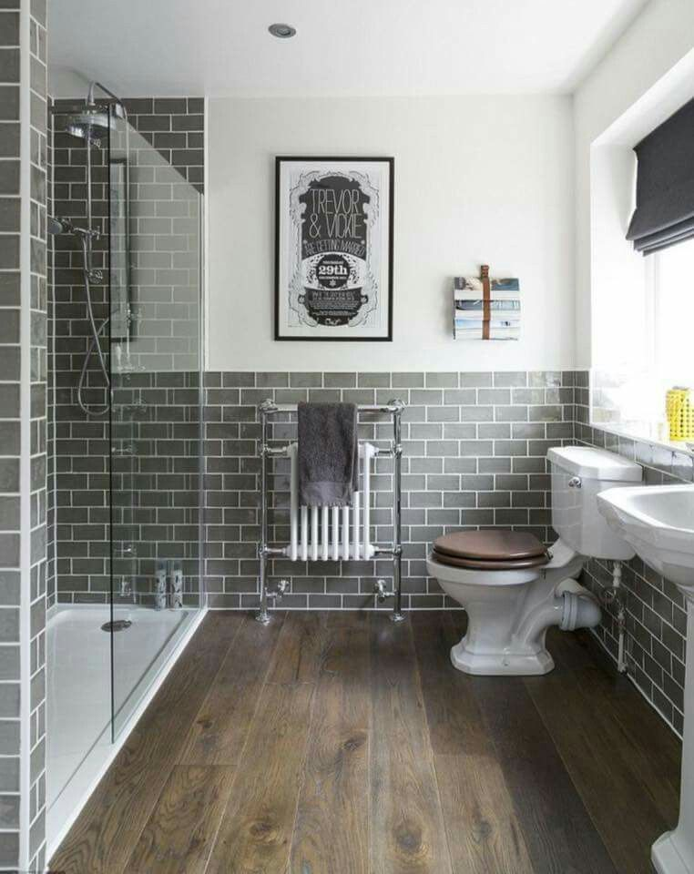 Bathroom Tiles Colour Combination colour scheme, dark grey subway tile, love the floor! | farmhouse