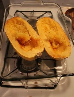 Spaghetti squash has become a new favorite!  Plus it's pretty cool how it looks just like spaghetti!