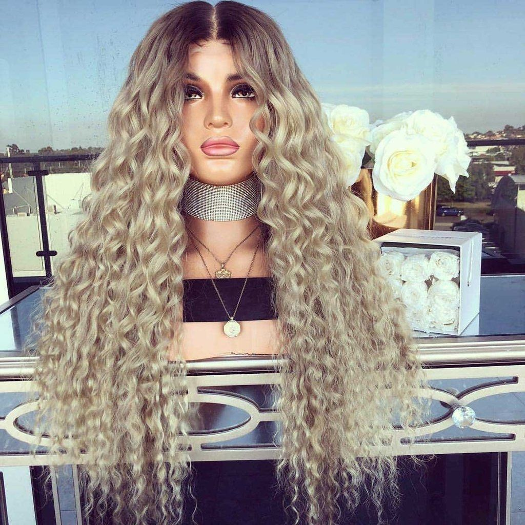 Long Curly Champagne Blonde Wig #champagneblondehair
