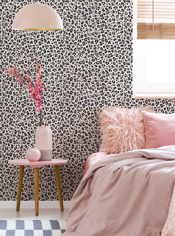 Everly Quinn Wechsler Leopard Paintable Peel And Stick Wallpaper Panel In 2021 Girls Bedroom Wallpaper Girls Room Wallpaper Room Ideas Bedroom