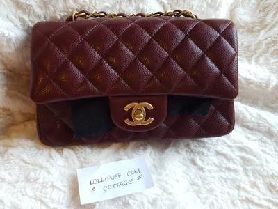 5b66b56f39c1 Chanel Mini Classic Caviar Burgundy Fall 2015 collection Quilted Flap Bag  for sale on Lollipuff