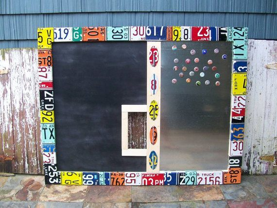 Funky Awesome Message Board Center Magentic Chalkboard Dry Erase Board - Recycled License Plate Art - Salvaged Wood - Upcycled Artwork. $1000
