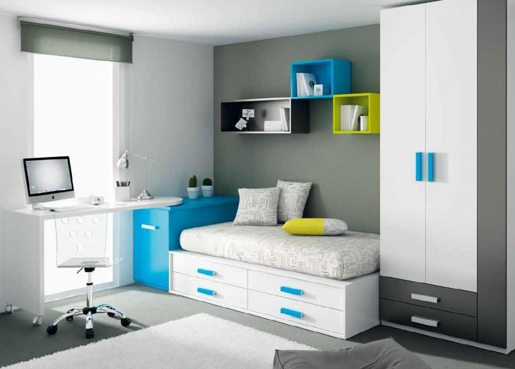 para un dormitorio juvenil te sugerimos colores gris con azl aguamarina y pequeos toques de