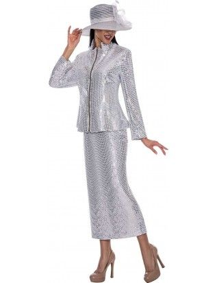 90afafc872598 Nubiano N93692 Ladies Church Suit White-Silver | Nubiano | Women ...