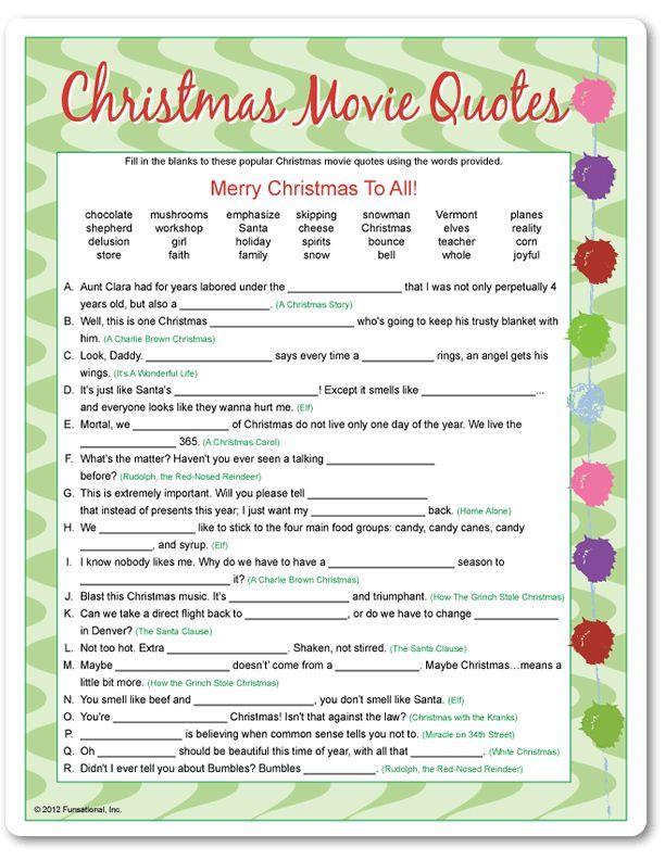 Printable Christmas Movie Quotes Funsational Com Christmas Movie Quotes Christmas Charades Christmas Trivia