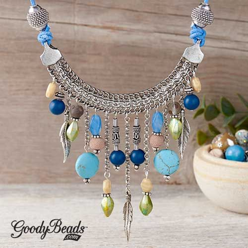 47a64b722f0b0a GoodyBeads | Blog: Statement Necklace with Jesse James bead collection at  GoodyBeads and bib connectors, chain, feather charms and leather cord.