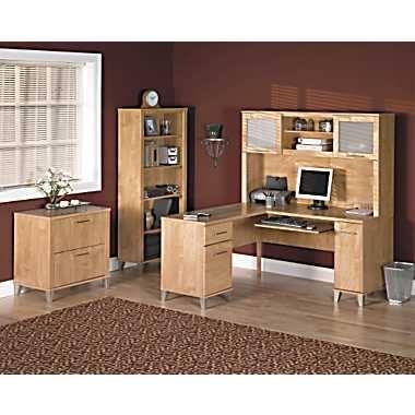 Bush Somerset 4 Piece L Shape Office Set In Maple Cross
