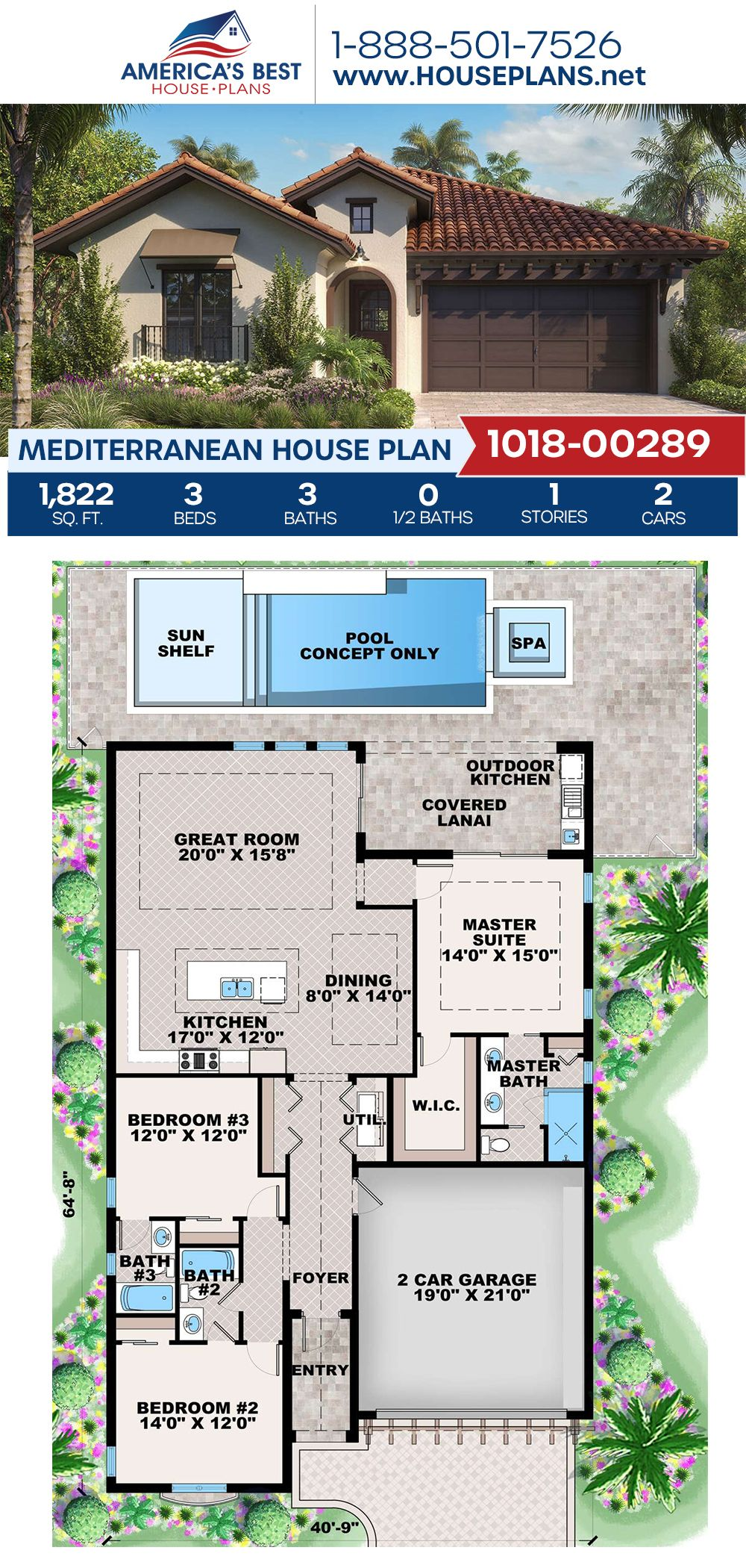House Plan 1018 00289 Mediterranean Plan 1 822 Square Feet 3 Bedrooms 3 Bathrooms Mediterranean House Plan Mediterranean Style House Plans Mediterranean House Plans