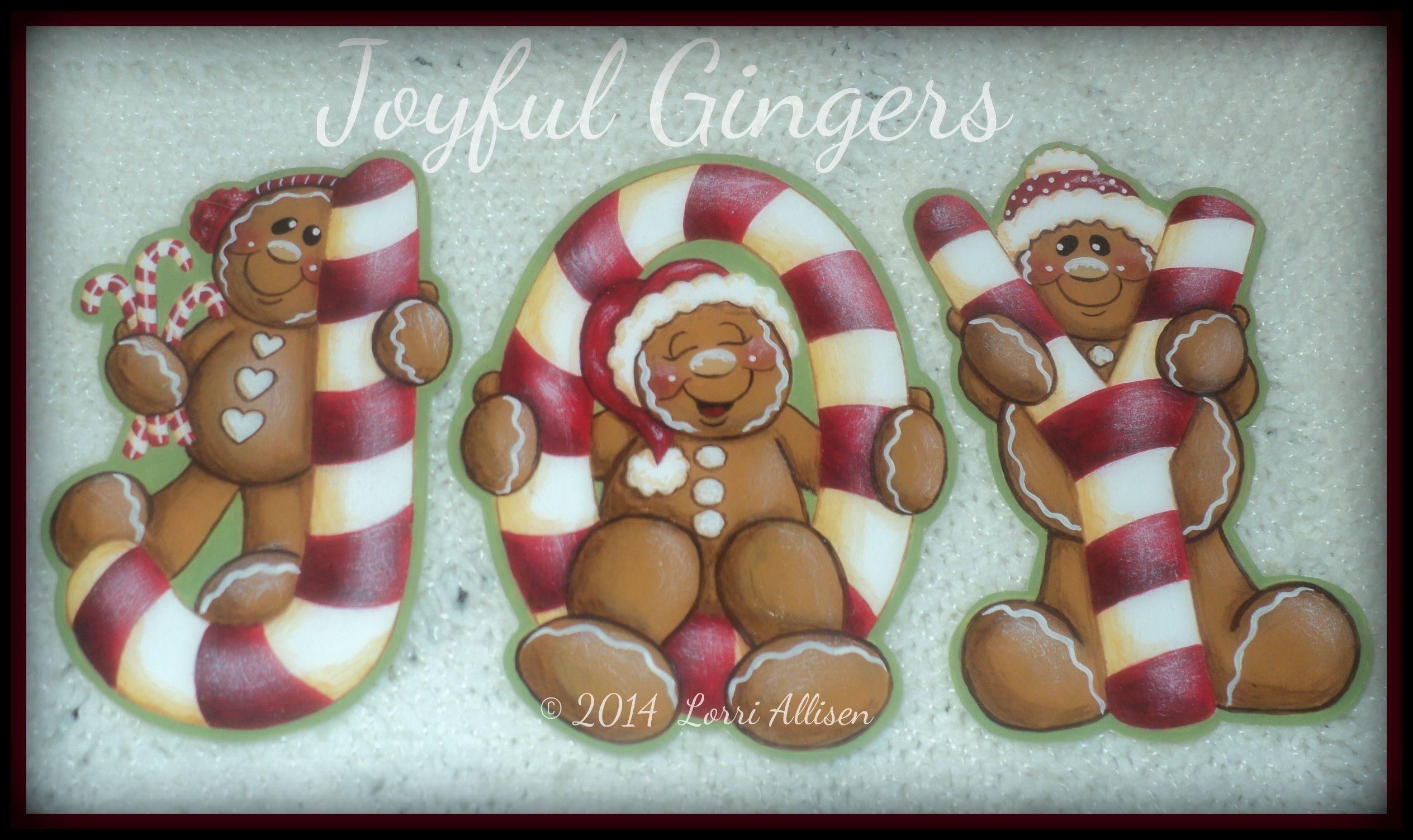 Joyful Gingers Painting Pattern Packet By Lorriallisendesigns On Etsy Instant Downloadable Pdf Fi Cartas De Navidad Muñecos De Gengibre Galletas De Gengibre
