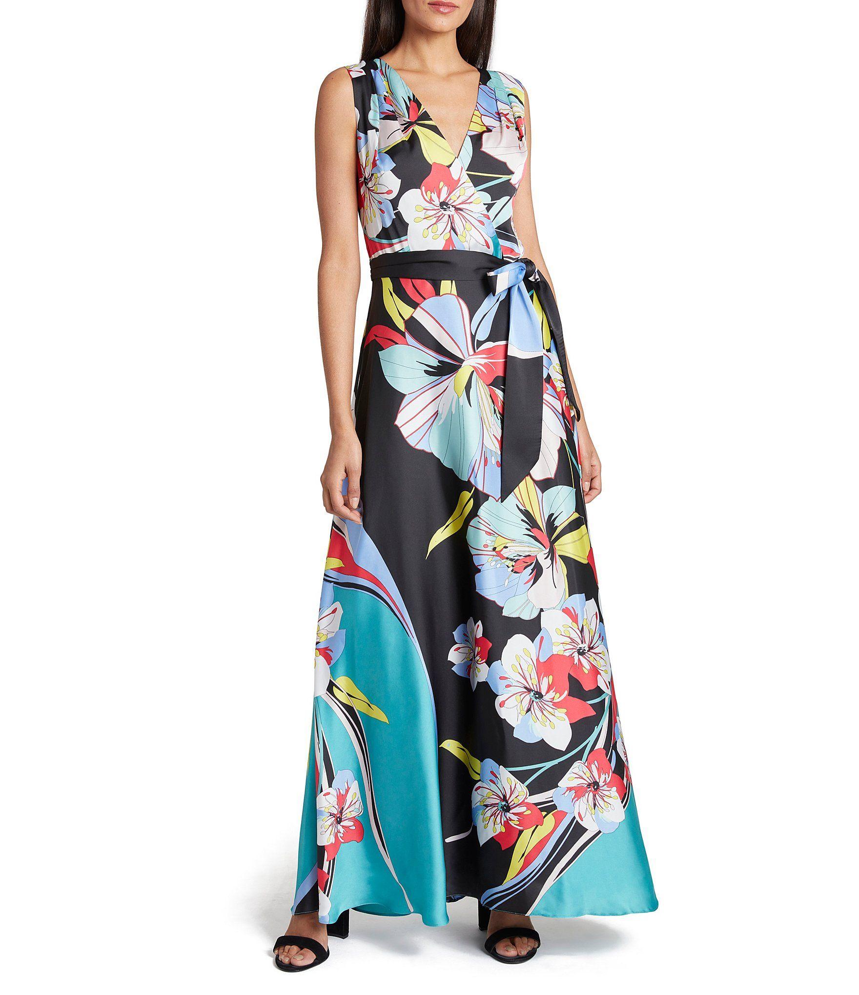 Shop For Tahari Asl Floral Print V Neck Tie Waist Charmeuse Maxi Dress At Dillard S Visit Dillard S To Find Cloth Maxi Dress Floral Maxi Dress Maxi Dress Blue [ 2040 x 1760 Pixel ]