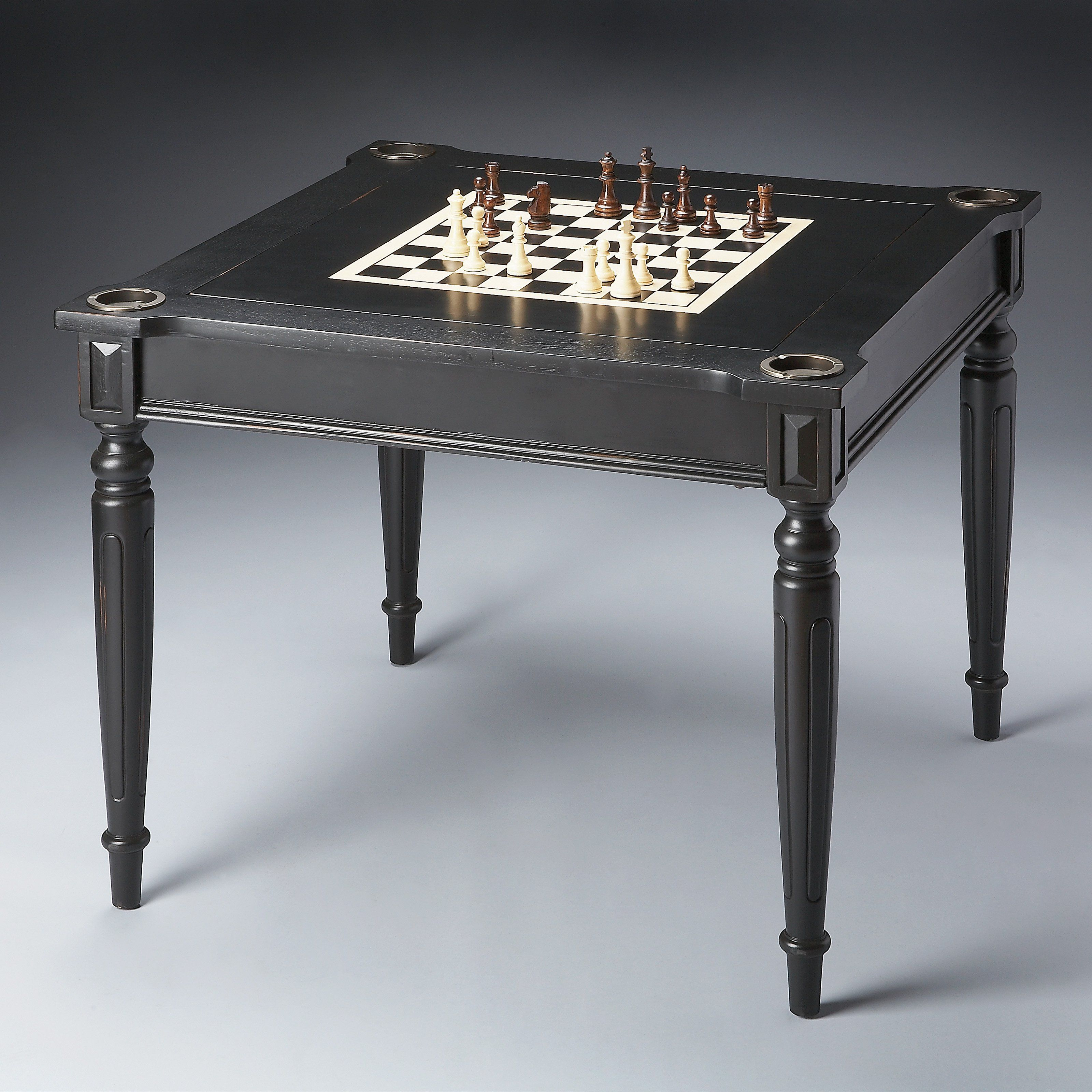 Butler Masterpiece Collection Wood Multi Game Card Table With Black
