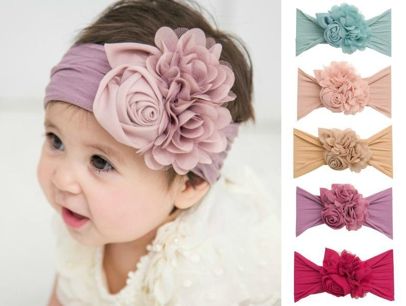 floral non-nylon headband,Shabby chic headbands Newborn floral crown Hair bows Baby girl flower headband Infant flower crown headband
