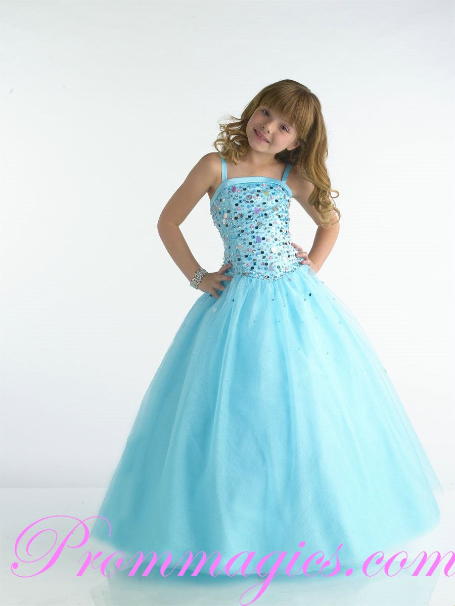 Wedding Girls Party Dress embellished bodice spaghetti full tulle baby blue a line girls party dressses on sale