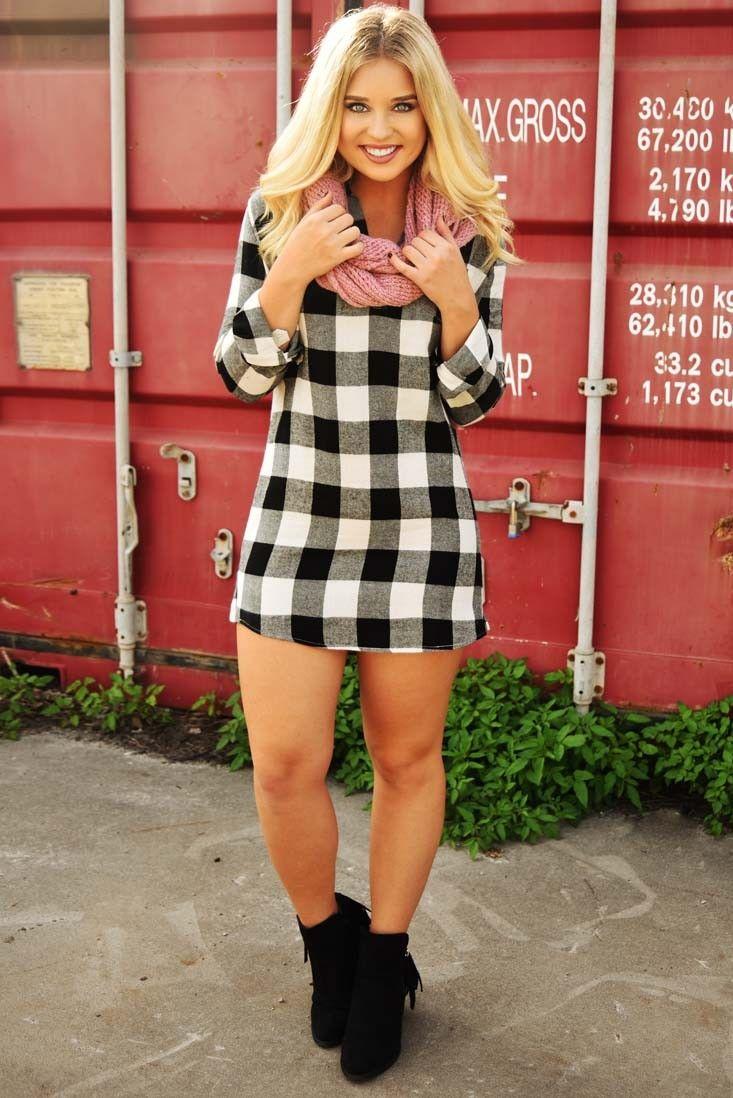 Flannel dress womens  Flannel dress  cutest spring outfits  Pinterest  Tunics Black