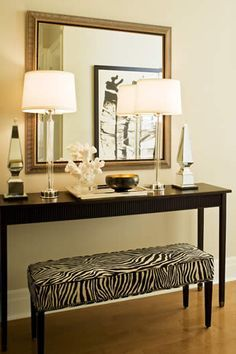 Console Table With Bench Underneath Like The Bench Idea For Extra Seating Or Ottoman Hall Decor Decor Interior